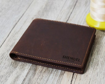 Father's Day Wallet  Groomsmens gift Wallet,  ,Men's Leather Wallet Personalized  Groomsman Wallet,Men's gift wallet engrave Custom  Wallet