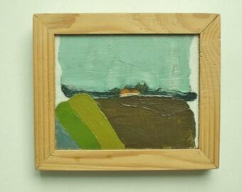 Minimalistic landscape. Farmhouse. Acryl painting, wooden frame, +/-  16 x 20 cm.