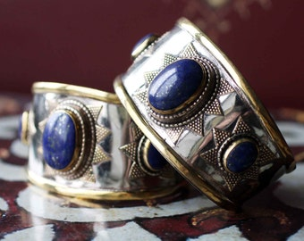 Afghan Cuff Bracelet with Lapis Lazuli