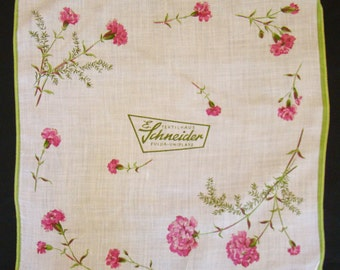 Schneider Advertising Hanky Handkerchief Germany Hankie Textilhaus Fulda Uniplatz Hankerchief 1960s Vintage Carnations Flowers