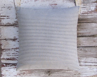 black ticking stripe pillow cover