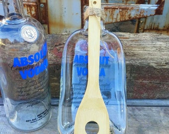 Melted Absolut Vodka Bottle - Spoon Rest or Cheese Tray