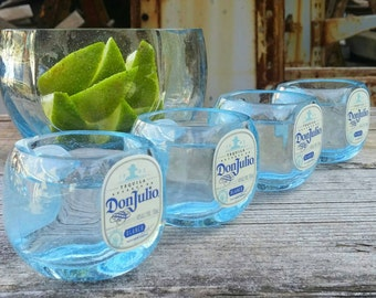 4 Shot Glasses With Lime Serving Dish From Upcycled Don Julio Tequila Bottles