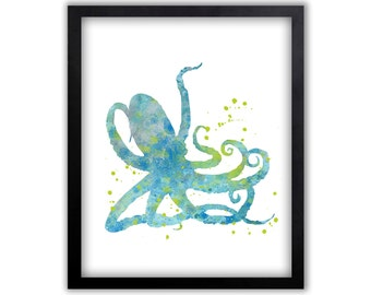 octopus watercolor painting octopus bathroom art bathroom wall art limited edition art print