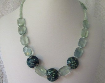 Fluorite Lampwork Necklace ECS