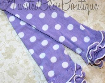 Purple & White Polka Dot Ruffled Leg Warmers