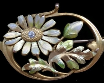 Antique Krementz 14k Yellow Gold Diamond Enamel Flower Watch Pin Brooch Estate