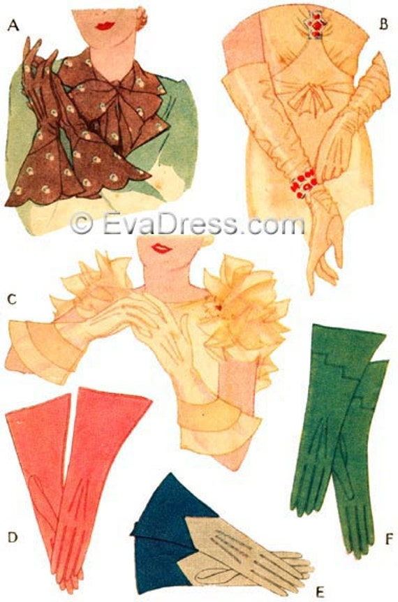 1930s Sewing Patterns- Dresses, Pants, Tops 1933 Dressmaker Gloves EvaDress Pattern $12.00 AT vintagedancer.com