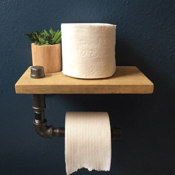 Pine wood toilet paper holder and shelf rustic industrial Wood toilet paper holders