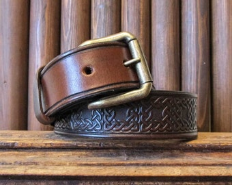 "Celtic Leather Belt-Tooled Leather Belt-Celtic Leather Belt-Mens Leather Belt-Womans Leather Belt-Brown Leather Belt-10 oz thick Sz 34""-39"""