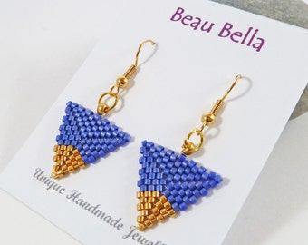 Blue and Gold Triangle Earrings, Geometric Earrings, Gold Tip, Birthday Gift, For Her, Modern, Dipped Triangle, High Fashion, Bead Earrings