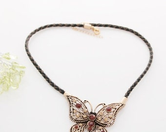 On Sale New Woman's black rope chain big golden brown butterfly statement necklace