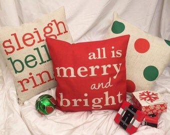 Sleigh Bells Ring - Christmas pillow cover on Canvas