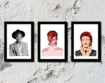 SET OF 3 David Bowie high quality prints (A5, A4, A3)