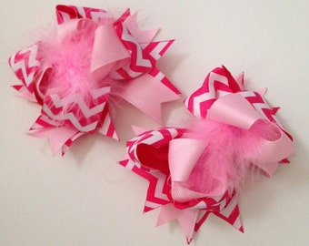 Light Pink & Hot Pink Chevron Printed Ribbon Bow Hair Clip with Light Pink Feathers.