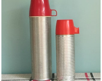 A PAIR Of Vintage Thermoses , One Quart Size King-Seeley Thermos, One Pint Size Aladdin Thermo King Thermos, Retro Metal Thermoses.
