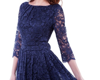 Navy Blue Lace Dress.Evening Flared Gown Wedding.Bridesmaid Navy Blue Dress With Belt