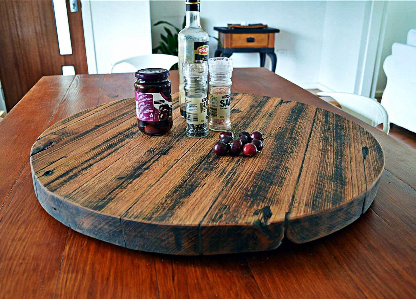 Recycled Upcycled Hardwood Timber Rustic Lazy Susan Finished