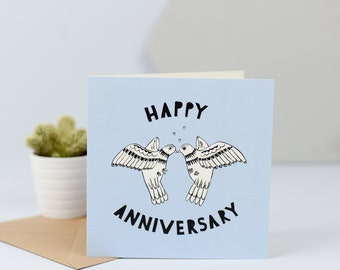 Sweet Candy Anniversary Card, bird, dove, love, handmade, lino cut, fun, bright and colourful, contemporary, quirky, CODE-SC11