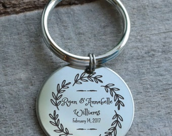 Wedding Leaves Wreath Personalized Key Chain - Engraved