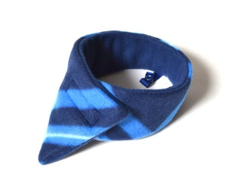 Modern fleece child's scarf with a jacket strap, blue plaid, toddler's neck warmer, kid's scarf, boy's scarf, boy's cowl, kid cowl