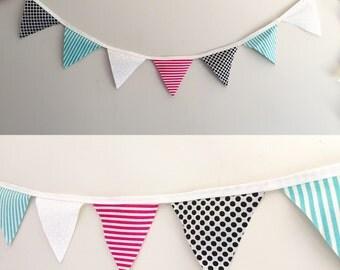 Fabric Bunting Multicoloured Chevron Polka Dot Flags Party Decor Nursery Baby Shower