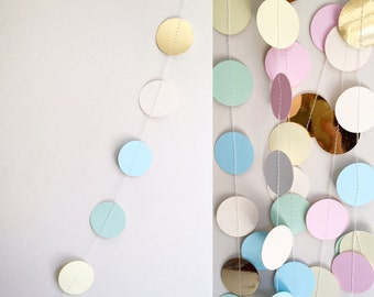 Pastel Paper Garland Wedding Decor Nursery Decor Hanging Decoration