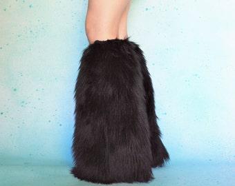 Black Boot Covers FREE SHIPPING: Furry Leg Warmers, Fur Boot Covers, Fuzzies Rave, Black Rave Fluffies