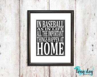 Chalkboard Baseball Digital Print 16x20