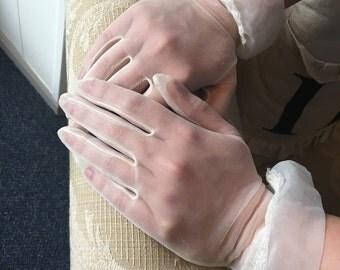 Sheer 1950's Ivory Bridal Gloves