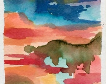 Abstract Original Watercolor Landscape
