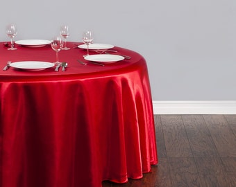120 inch Round Satin Red Tablecloth | Wedding Tablecloth