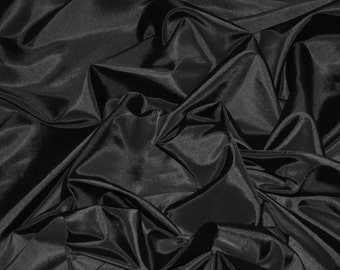 "Black Taffeta Fabric | Silk Taffeta Fabric | Fabric By The Yard 58""/60"""
