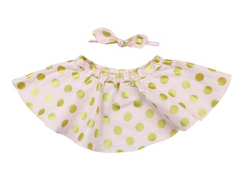 Pink and Gold Glitz Polka Dot Twirl Skirt, Circle Skirt for baby and toddler girls