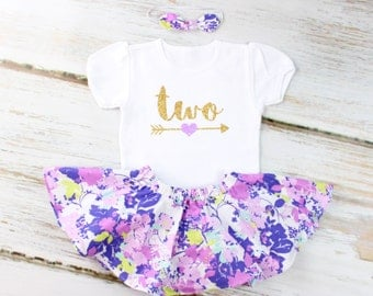 2nd Birthday Outfit with Purple Flowers Twirl Skirt | Gold Two With Purple Heart Arrow and Purple & Mint Flowers Circle Skirt