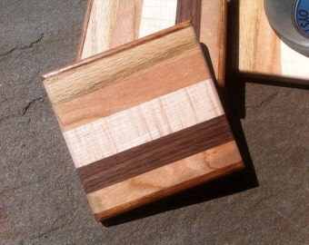Square Wood Coaster Set of 5 Hardwood Curly Maple Walnut Jatoba Cherry and Oak