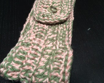 Crochet Earwarmer Headband, Homemade, Handcrocheted, Pink and Green Ear Warmer Headband, Soft with Vintage Button Closure