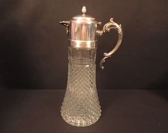 Vintage Silver Plate Heavy Pressed Glass Pitcher with Chiller Insert