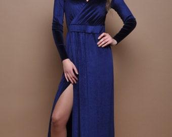 Navy Blue Velvet Maxi Dress Wrap Neckline Slit Long Sleeves or Sleeveless
