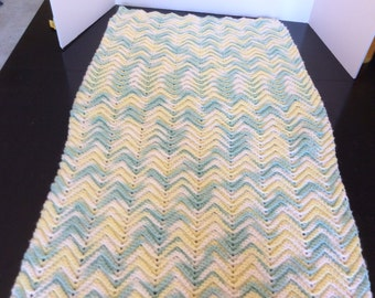 Vintage Crochet Baby Blanket, Green, White, and Yellow, Crib Blanket