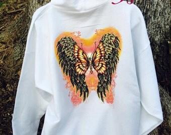 Womens hoodie,BUTTERFLY hoodie,glitter hoodie,custom hoodie,two sided shirt,GIFTS for mom,pull over hoodie,butterfly wings,angel WINGS,gifts