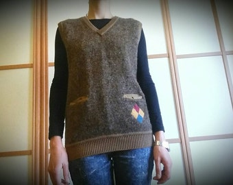 70's knitted vest//