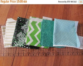 On sale Destash- Assortment of Green Cotton Quilting Small Remnants