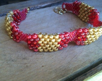 Vintage Style, Native American Style, Art Deco Beaded Bracelet Gold, Red, Pink, Ready to Ship, Great Gift, Hippie, Southwestern, Boho,