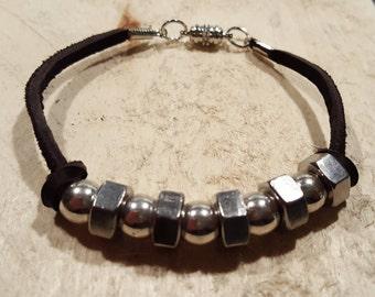 Leather Bracelet, Mens Bracelet, Industrial Jewelry, Beaded Bracelet, Metal Jewelry, Rocker Fashion, Hex Nut Bracelet, Mens Fashion, Jewelry