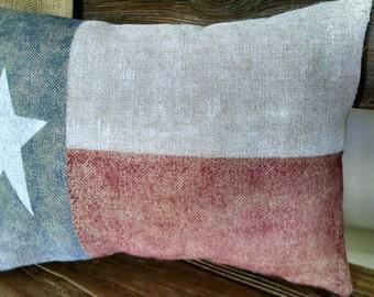 "Shabby  12""x16"" Texas State Flag Burlap Pillow Cover"