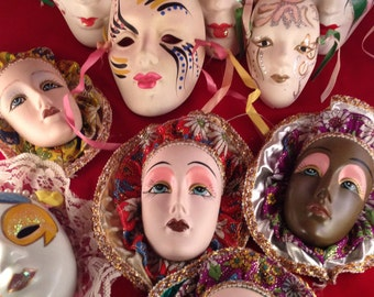 Vintage Mask Mardi Gras, Faces, Wall Hanging, Collection Lot of 10