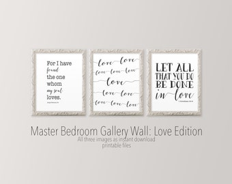 Master bedroom wall art 8x10 Set of three printable art Song of Solomon Black and white wall art Scripture prints Gallery wall Verse print