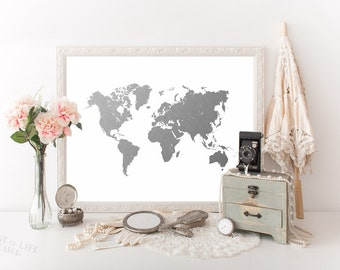 Silver world map etsy printable art world map art print silver world map art print world map download travel nursery gumiabroncs Images
