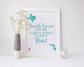 CUSTOM Long Distance Friendship - DOWNLOAD ONLY - 8x10 Printable Gift Art Print, Friends, Sorority Sisters, Far Apart, Anchor Gift